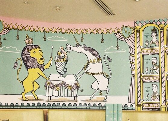 Wall from the ice-cream parlour at Fortnum and Mason in London