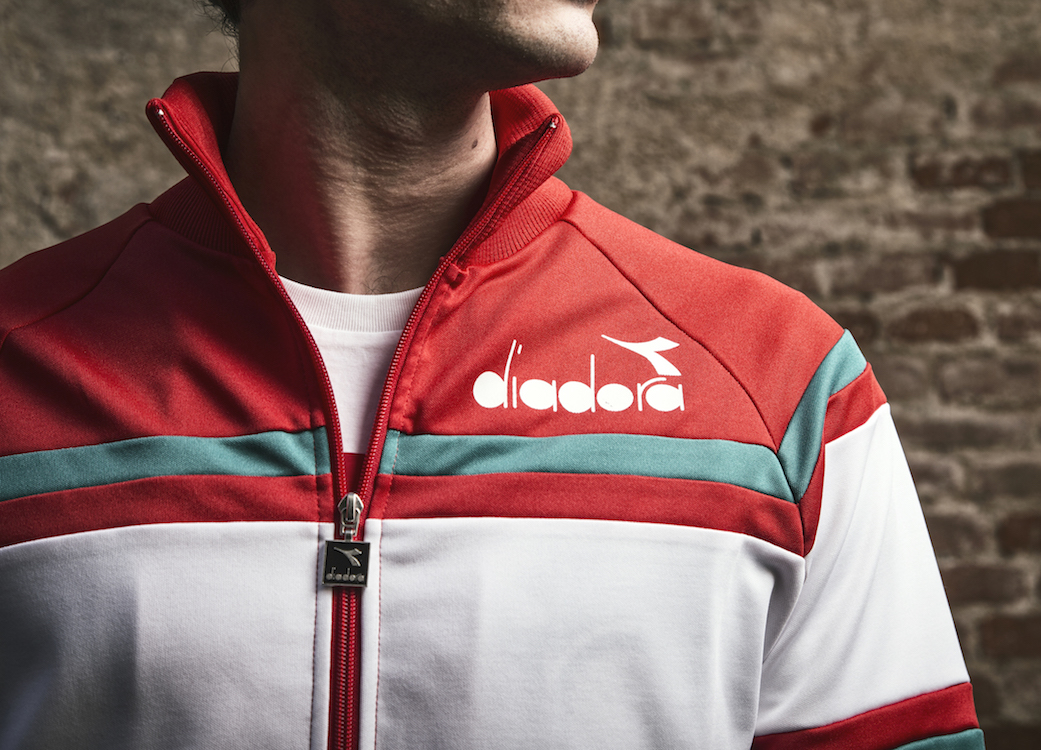 Diadora's revamped B. Elite shoe in red suede, and matching 80's style track jacket