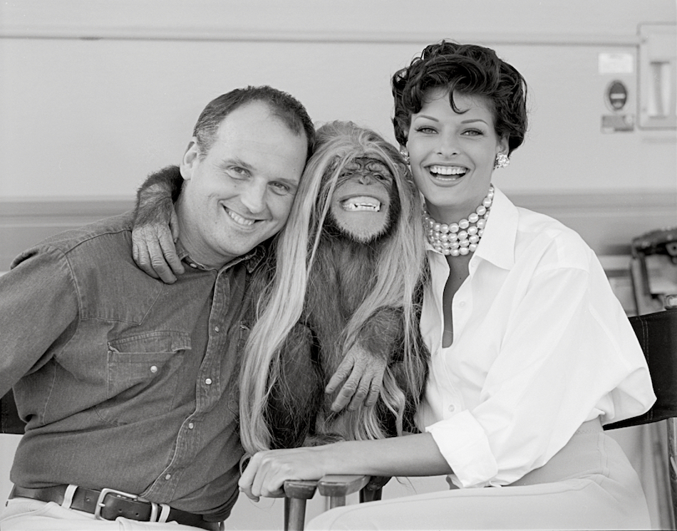 Sam McKnight with Linda Evangelista and Jesse the chimp, Los Angeles, 1992. © Laspata Decaro
