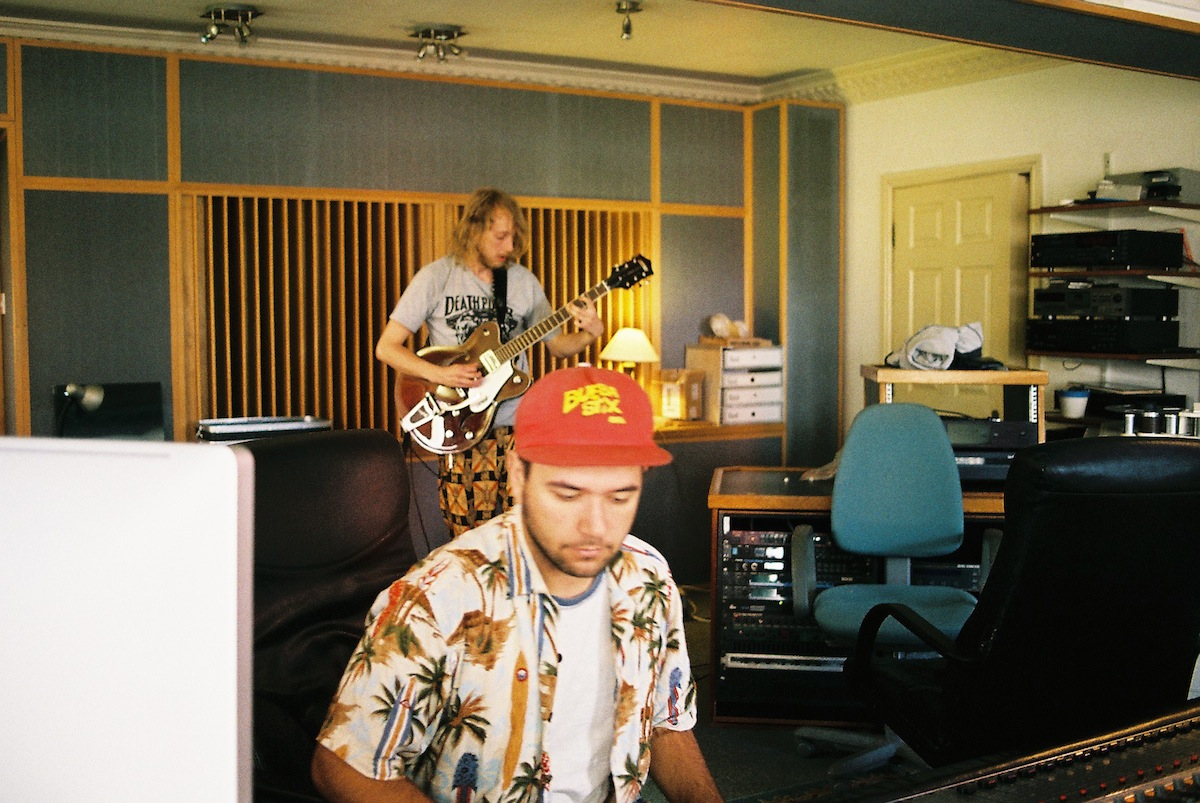 Me and Andy recording his guitars. We used his Gretsch for most of his parts, he loves his Bigsby whammy and uses it on nearly everything we do. I don't know how he makes some of the sounds he does.