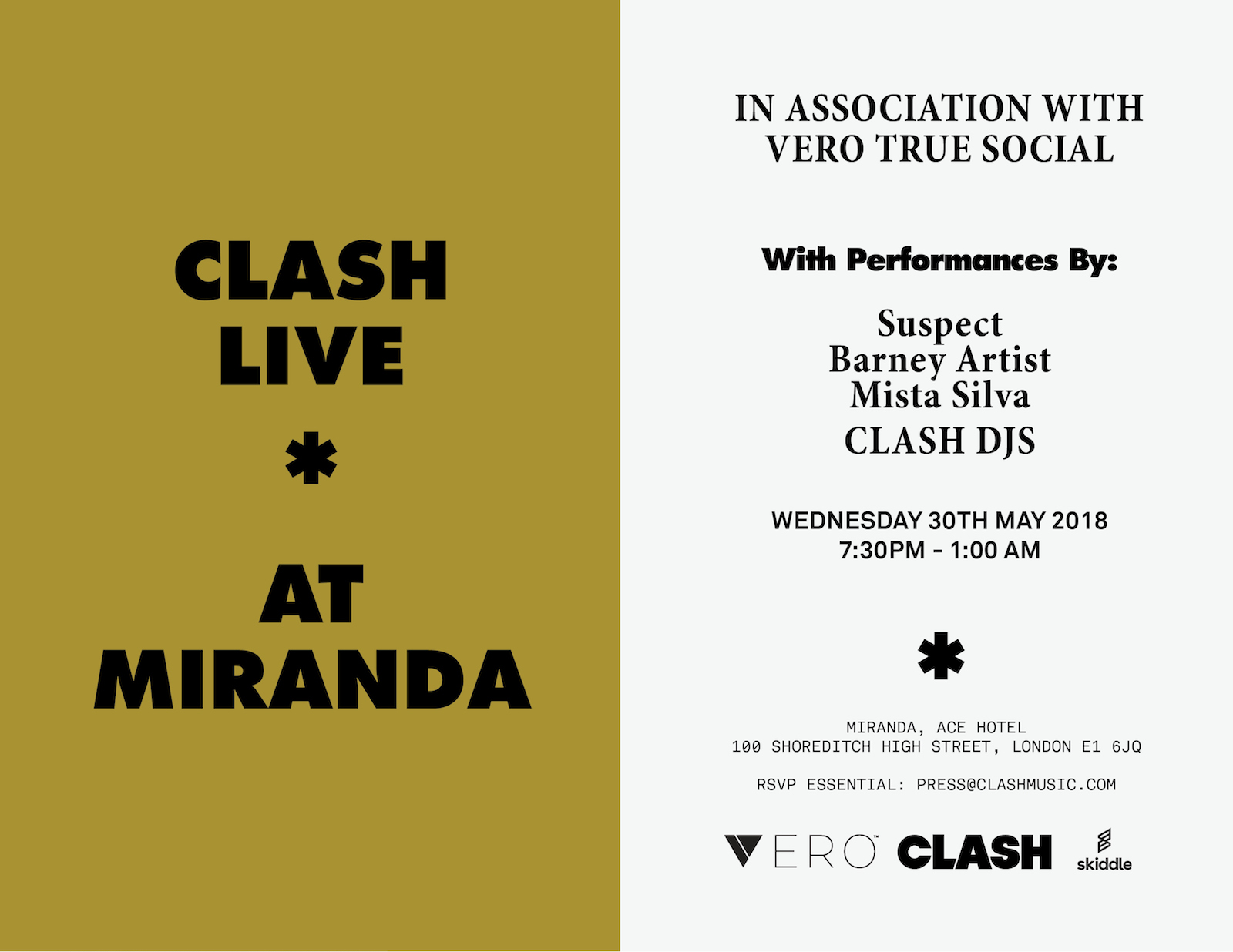 Clash Live @ Miranda, Ace Hotel Wednesday 30th May