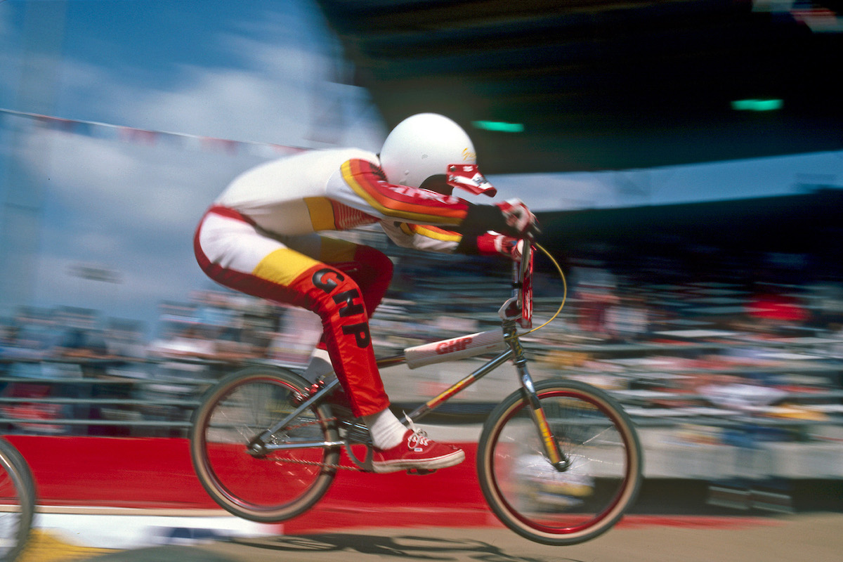 Professional BMX racer Greg Hill in Vans shoes (late 70s)