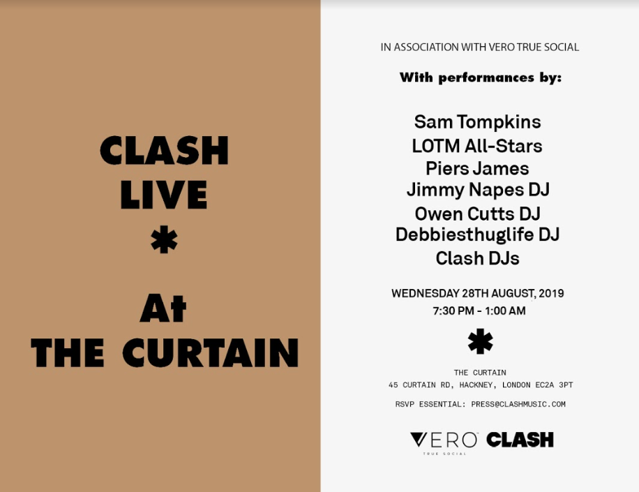 Clash Live Wednesday 28th August At The Curtain, Shoreditch
