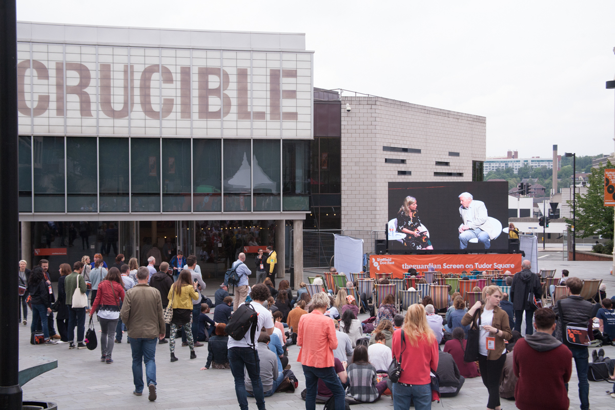 Spectators outside the Crucible