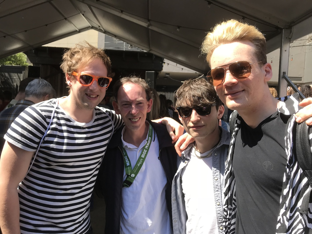 Pic 6: And who else do we bump into but Steve Lamacq himself scouting out what the youngsters are up to now! And of course a sweaty hug from him too, hard to avoid them in 32 degree heat.