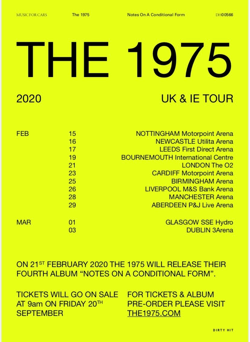 Image result for 1975 tour 2020